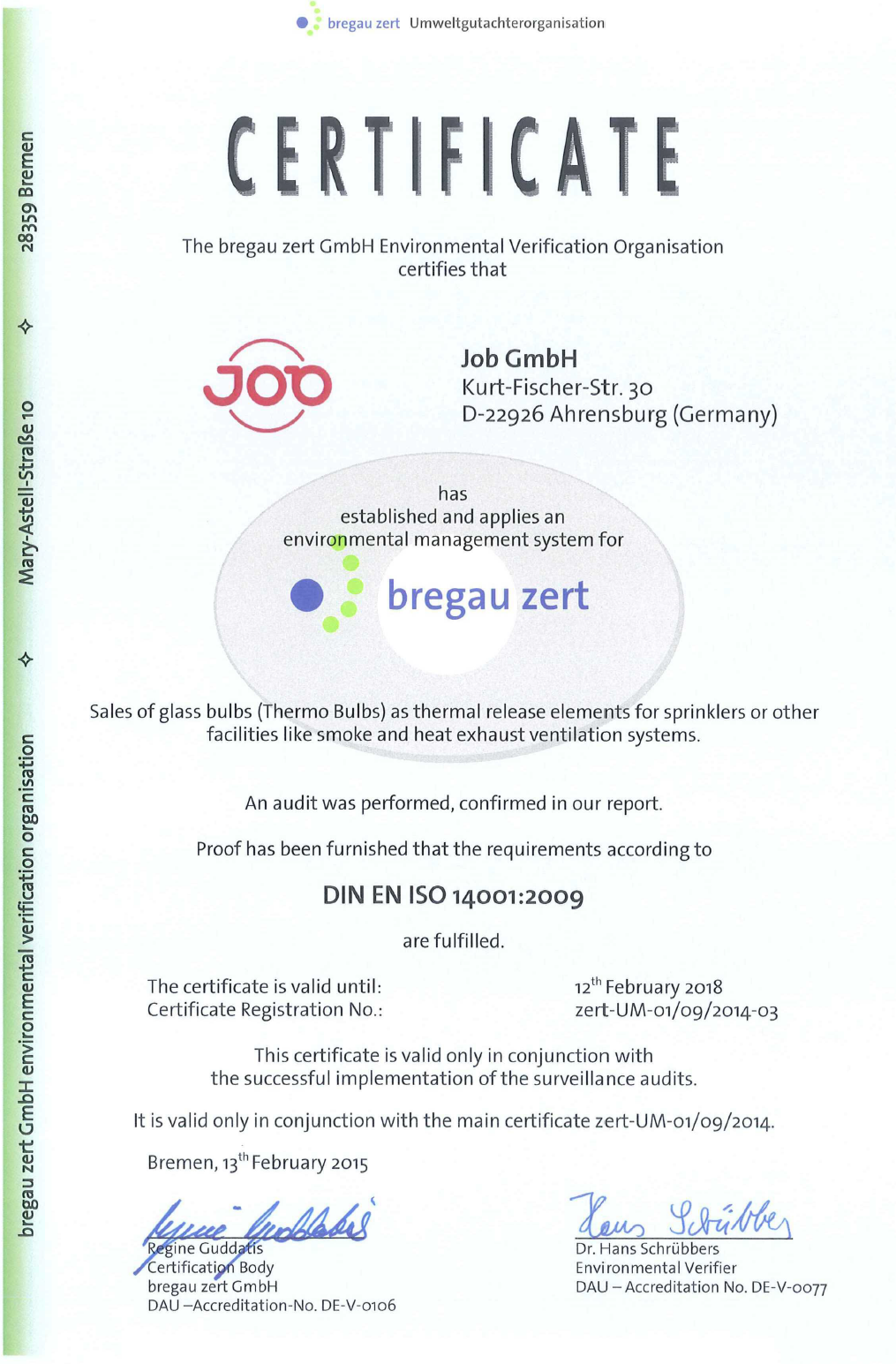 Quality job simply more safety iso 14001 certificate of job gmbh 1betcityfo Gallery