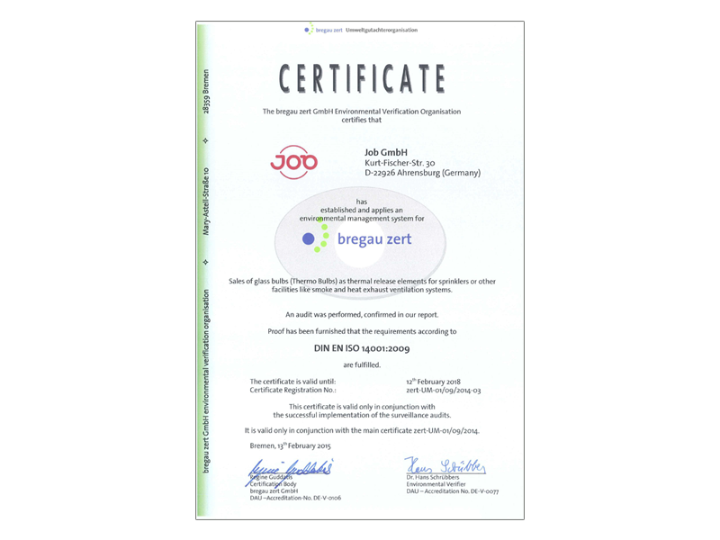 Job Group Received Iso 14001 Certification