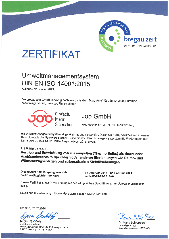 ISO 14001 Certificate of JOB GmbH
